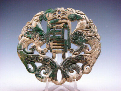Old Nephrite Jade Stone 2 Sides Carved LARGE Pendant 2 Dragon Blessing #03112008