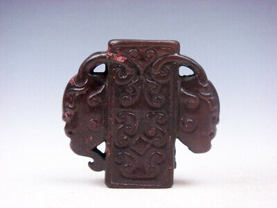Old Nephrite Jade Stone Carved Pendant Sculpture 2 Ancient Fig Faces #03252007