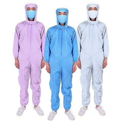 Reusable Unisex Workwear Coverall Isolation Gown Protective Suit Hood Overall