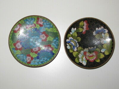 Antique 2 Chinese Cloisonne Small Plate
