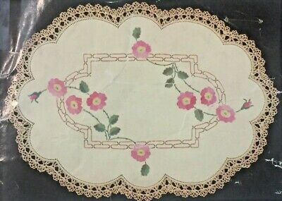 """""""Wild Rose""""  ❤️ Vintage Stamped Linen To Embroider a Duchess Set by Myart #1605"""
