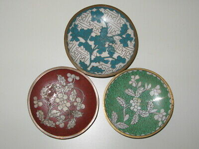 Antique 3 Chinese Cloisonne Small Plate