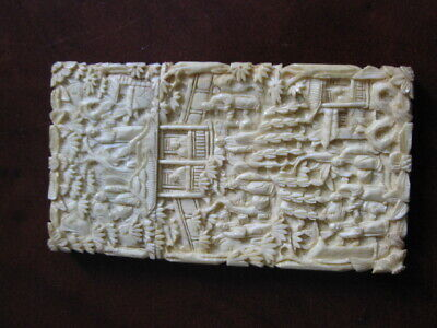 Very Rare Antique Chinese finely carved bone card case