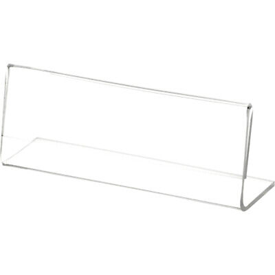"""Plymor Clear Acrylic Sign Display / Literature Holder (Angled), 4"""" W x 1.5"""" H"""