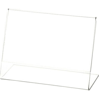 "Plymor Clear Acrylic Sign Display / Literature Holder (Angled), 5"" W x 3.5"" H"