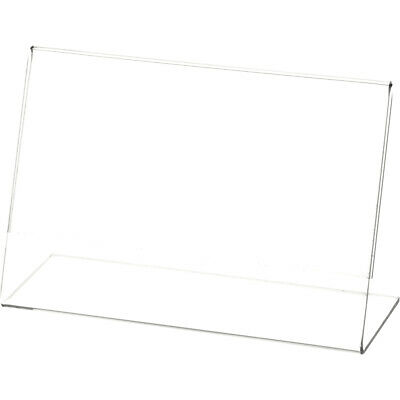 """Plymor Clear Acrylic Sign Display / Literature Holder (Angled), 6"""" W x 4"""" H"""
