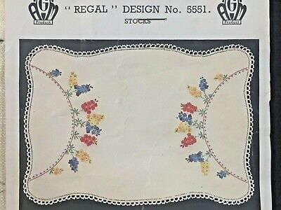 VINTAGE   ❤️    Stamped Linen To Embroider a Traycloth by Regal - #5551