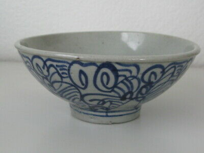 Antique Chinese 18th-19th Century Blue and White Porcelain Rice Bowl