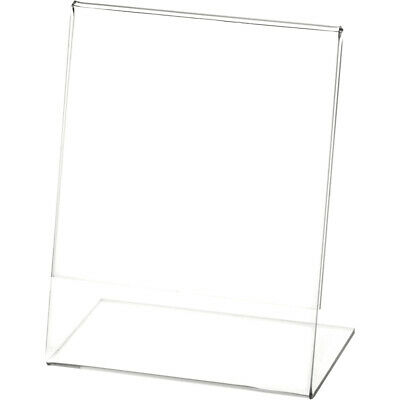 """Plymor Clear Acrylic Sign Display / Literature Holder (Angled), 4"""" W x 5"""" H"""