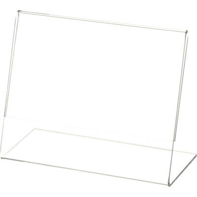 """Plymor Clear Acrylic Sign Display / Literature Holder (Angled), 5"""" W x 4"""" H"""