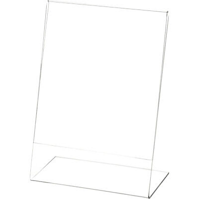 """Plymor Clear Acrylic Sign Display / Literature Holder (Angled), 5"""" W x 7"""" H"""