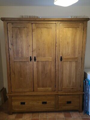 French Rustic Solid Oak 3 Door 2 Drawer Triple Wardrobe.