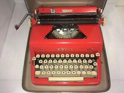 Royal Quiet De Luxe Red Manual Portable Typewriter with Carrying Case