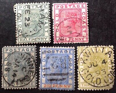 Gold Coast 1876 5 X Stamps All Used