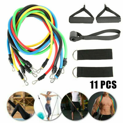 11PCS Set Resistance Yoga Bands Workout Exercise Crossfit Fitness Training Tubes
