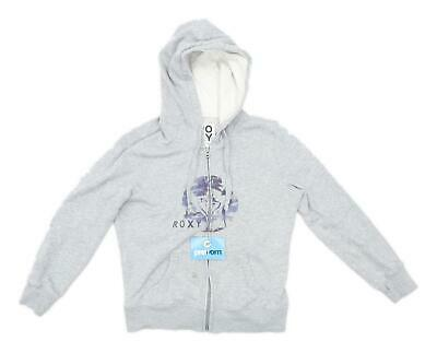 Roxy Womens Size XS Graphic Cotton Grey Beach Palm Design Hoodie (Regular)