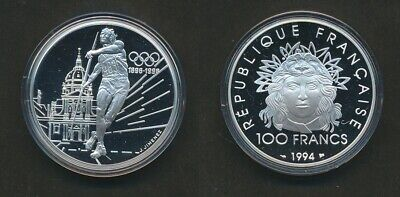France: 1994 100 Fr Javelin Thrower Proof 1oz Silver 100 Years of Olympic Games