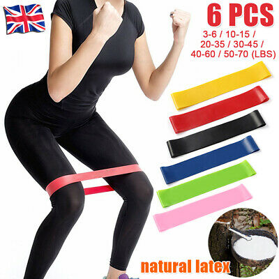 6 Levels Resistance Exercise Loop Bands Home Gym Fitness Natural Latex set of 6