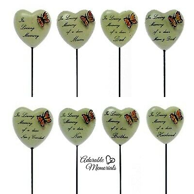 In Loving Memory Butterfly Stone Graveside Heart Spike Memorial Family Tribute