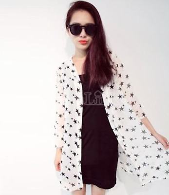 Wholesale Job Lot 9 x Star Print White Chiffon Festival Jacket Top Pool Cover Up