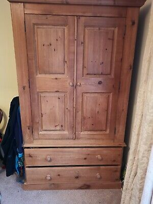 Solid Antique Pine Large Wardrobe 2 door with 2 drawers