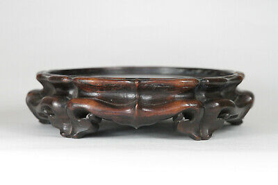 Antique Chinese Qing 19th Century Carved Hardwood Wood Stand for Vase or Censer