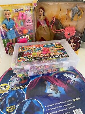 Girls toy bundle, barbie princess, loom bands, bed tent, child toys  activities