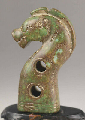 Chinese old natural jade hand-carved horse statue Walking stick head