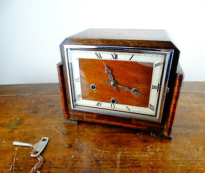 Smiths Enfield Westminster Chiming Mantel Clock 8 Day Antique Vintage Art Deco