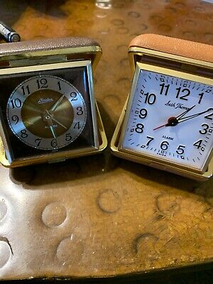 Vintage Lot 2 Linden Seth Thomas Travel Alarm Clock Wind Up Snap Close Case