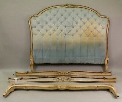 Old French Louis XV style kingsize fabric headboard and bed frame for upholstery