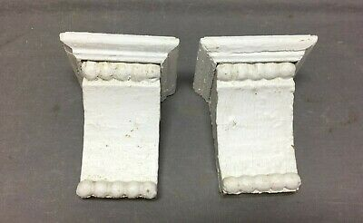 Small Pair Beaded Antique Wood Corbels Shabby Cottage Chic Vintage 323-20B
