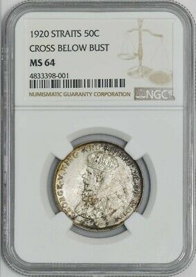 1920 Straits 50c Cross Below Bust MS64 NGC 942036-22