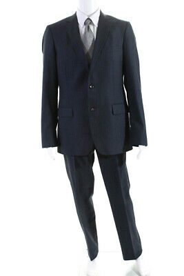 Brooks Brothers Mens Pinstripe Two Piece Suit Navy Blue Size 41