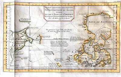 Bellin Map of North America & Siberia Showing The Bering Strait -DATED 1777