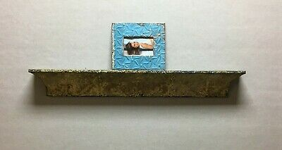 Architectural Destressed Embossed Reclaimed Tin Mantle Shelf Home Decor 326-BE