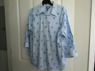 Chaps by Ralph Lauren Women's Size 1 X Blue Striped/Floral Shirt