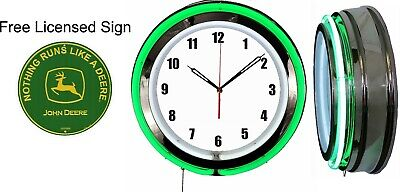 """Nothing Runs Like A John Deere Green Sign with Free 19"""" Neon Clock Green Neon V2"""