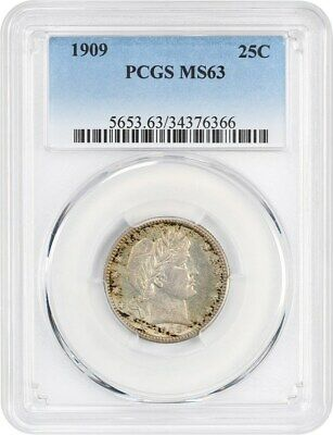 1909 25c PCGS MS63 - Barber Quarter