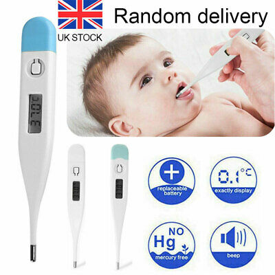 Adults Children Baby LCD Digital Thermometer Human Health Fever Check Alarm UK