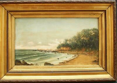FINE 19th Century SANDY BEACH VIEW SIGNED J WILLIAMS Antique Oil Painting
