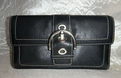 Coach Black All Leather Buckle Tri-fold  Wallet