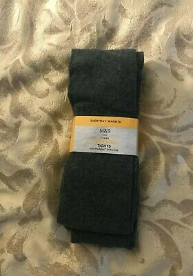 Marks and Spencer Thermal Grey Freshfeet Tights -13-14 Years /164 cm - BNWT 2 PK