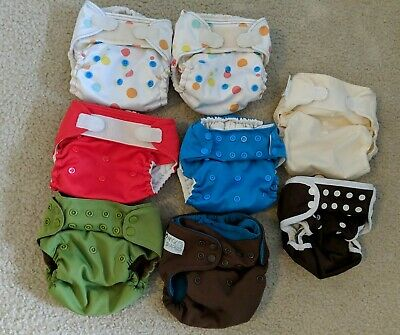 Lot of 8 Misc. Cloth Diapers (Nicki's, Thirsties, Rumparooz, Flip)