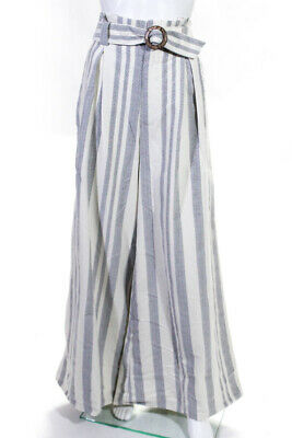 Free People Womens Striped Wide Leg High Waist Belted Pants White  Gray Size 12