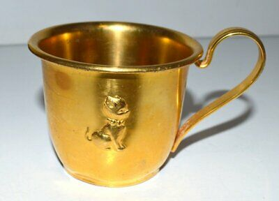 Vintage Selandia Denmark 860 Goldplated Cat Baby Cup