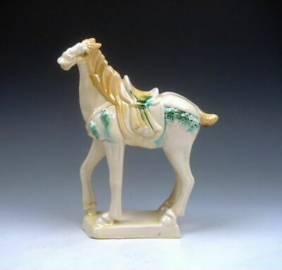 Chinese SanCai Pottery Hand Painted Horse Sculpture w/ 1 Leg Bending #01281915