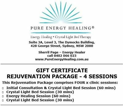 Rejuvenation Package 4 Sessions ConsultCrystalBedEnergyHealing GIFT CERTIFICATE