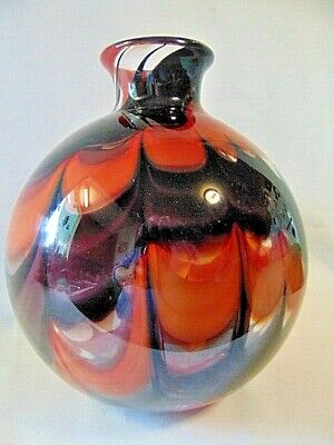 """VTG. 11"""" MURANO ART GLASS Hand Blown BLACK & RED Pulled~Feathered BALL VASE euc"""