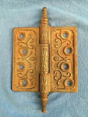 "Victorian Eastlake Cast Iron 4""x4"" Steeple Top Hinge Architectural Salvage 1890s"